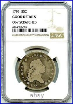 1795 Flowing Hair Liberty Silver Half Dollar, NGC Good Details, Very Nice Coin