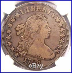 1798 SMALL Eagle Draped Bust Silver Dollar $1 NGC VF Details Rare Variety