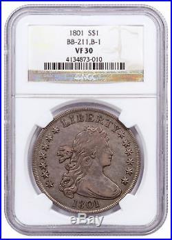 1801 Silver Draped Bust Dollar NGC VF30 BB-211, B-1 SKU56588