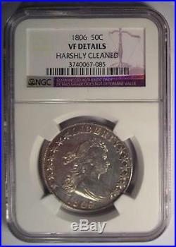 1806 Draped Bust Half Dollar 50C NGC VF Detail Rare Certified Coin Near XF