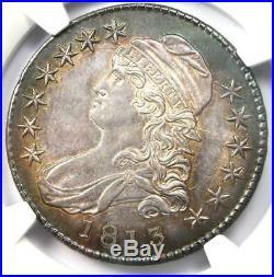 1813 Capped Bust Half Dollar 50C NGC AU Details Rare Coin Near MS / UNC
