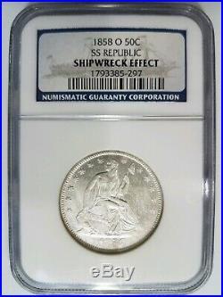 1858 O SS Republic Seated Liberty Half Dollar NGC Shipwreck Silver Treasure Coin