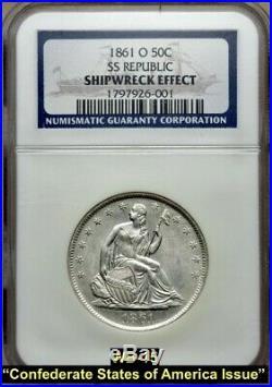 1861-o Liberty Seated Silver Half Dollar Csa (wb-104) Die Pair 15