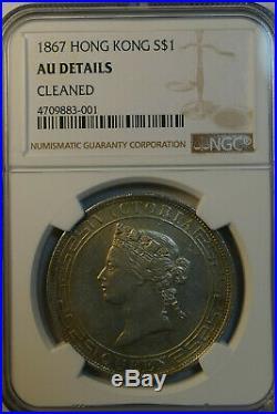 1867 Hong Kong Silver Victoria Dollar $1 NGC AU Details Rare