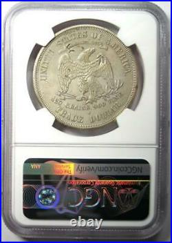 1875-S Trade Silver Dollar T$1 Coin Certified NGC AU Details with Chop Marks