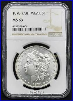 1878 7/8TF $1 Morgan Silver Dollar MS 63