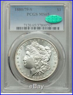 1880/79-S Morgan Silver Dollar 8 Over 7 MS65 PCGS. CAC. BLASTED-GEM-FROSTINESS