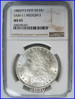 1880/9 S Morgan Silver Dollar NGC MS 65 Vam 11 Medium S Mint Error Hot 50 Coin