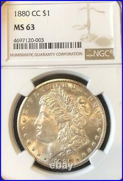 1880-CC Morgan Silver Dollar NGC MS63 Beautiful White Luster Unc Gem