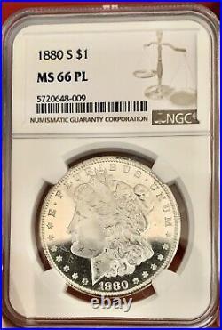 1880-S Morgan Dollar MS66PL NGC CAMEO HIGH GRADE LOOKS 68 NEAR DMPL