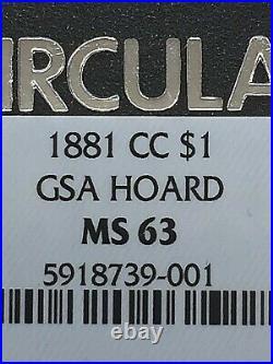 1881 CC GSA Morgan Dollar MS63 NGC With Original Box and Paper