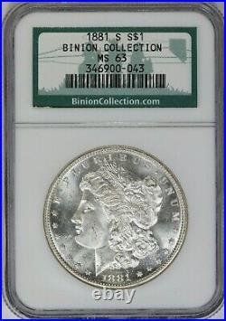 1881-S NGC Silver Morgan Dollar MS63 Binion Collection Hoard Similar as Shown