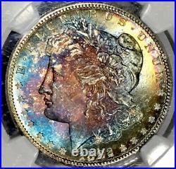 1882-S Morgan Dollar NGC MS64 CAC Vibrant Ultra Lustrous Rainbow Toned