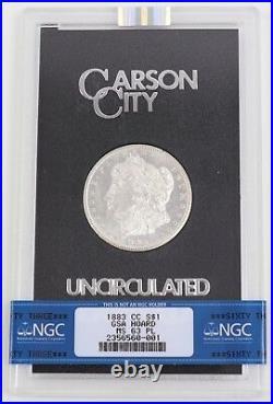 1883-CC GSA Proof-Like Morgan Silver Dollar $1 NGC MS63PL Carson City with Box-COA