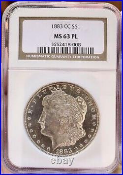 1883-CC Morgan Silver Dollar PL! NGCMS63PLCAMEO MIRROR COIN! NEAR DMPL