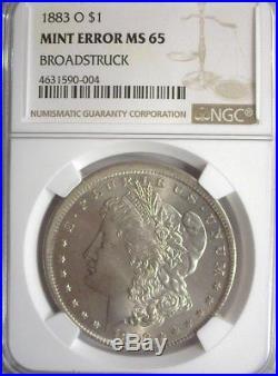 1883-o Morgan Silver Dollar -broadstruck Mint Error- Ngc Ms65 Rare Error