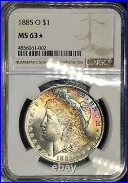 1885- O Morgan Dollar NGC MS63Star Vivid Very Attractive Rainbow Toned