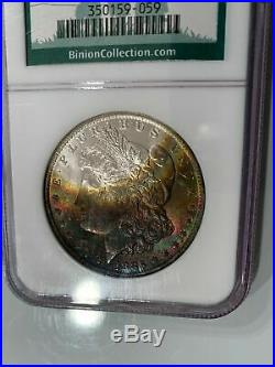 1885-O NGC MS63 Binion Collection Rainbow Toned Color Morgan Super PQ with Luster