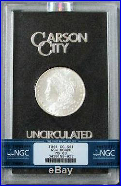 1891 CC Carson City Morgan Silver $1 Dollar Gsa Hoard Coin Ngc Mint State 63