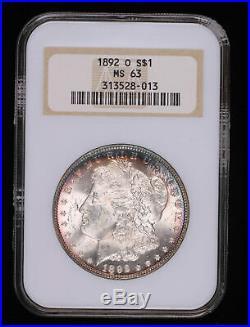 1892 O Morgan Silver Dollar Coin Toned Fatty Holder Ngc Ms63 #528-013tjr