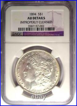 1894 Morgan Silver Dollar $1 NGC AU Details Key Date 1894-P Certified Coin