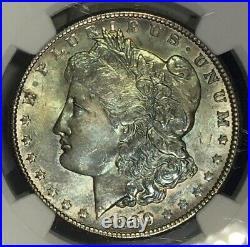 1899-O Morgan Dollar NGC MS64 Steel Blue Grey Rainbow Toned Dual Toner