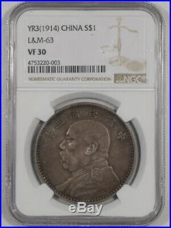 1914 China Yr3 $1 Silver Dollar L&m-63 Ngc Vf-30