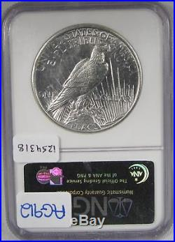 1921 $1 Silver Peace Dollar NGC MS62 Certified Coin AG912