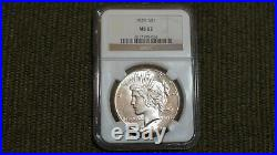 1928 P Silver Peace Dollar, Super Luster- Key Date Coin Ngc Ms62
