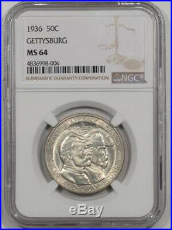 1936 Gettysburg Commemorative Half Dollar Ngc Ms-64