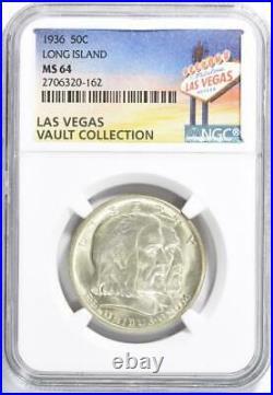 1936 Long Island Silver Commemorative Half Dollar NGC MS-64 Casino Vault