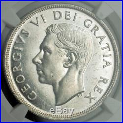 1948, Canada, George VI. Silver Dollar Coin. Key-Date w. Low Mintage! NGC UNC+