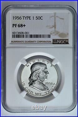 1956 Type 1 50c Silver Proof Franklin Half Dollar NGC PF 68+