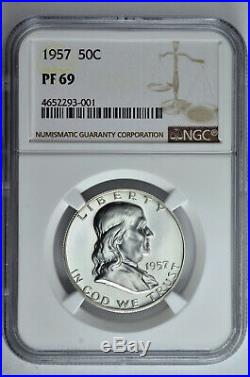 1957 50c Silver Proof Franklin Half Dollar NGC PF 69