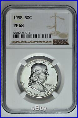 1958 50C Proof Silver Franklin Half Dollar NGC PF 68