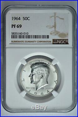 1964 50c Silver Proof Kennedy Half Dollar NGC PF 69