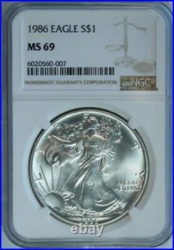 1986 American Eagle Silver Dollar / Certified NGC MS69 / Mint State 69 FRESH