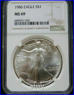 1986 American Silver Eagle NGC MS69 Silver Dollar $1 Gem BU