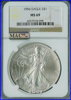 1996 Silver Eagle 1-oz Dollar Ngc Mac Ms-69 Pq Spotless Rarest In Series