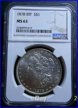 #2- 1878 8tf Morgan Silver Dollar Ms63 Ngc