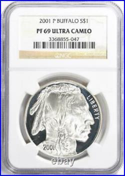 2001-P Silver American Buffalo Commemorative Dollar NGC- Proof-69 UCAM