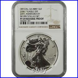 2006-P 20th Anniversary Reverse Proof Silver Eagle one Dollar Coin NGC PF69
