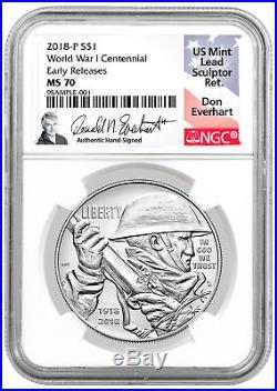 2018-P WWI Centennial Commemorative Silver Dollar NGC MS70 ER Everhart SKU52036