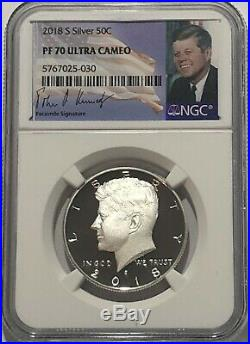 2018 S NGC PF70 PROOF SILVER KENNEDY HALF DOLLAR SIGNATURE LABEL ULTRA CAMEO 50c