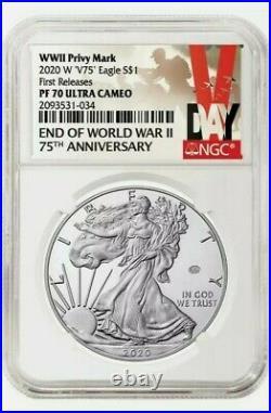 2020 W END of WORLD WAR II 75th ANNIVERSARY AMERICAN EAGLE V75 -NGC PF70 PRESALE