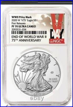 2020 W End Of World War II V75 Silver American Eagle Ngc Pf 70 Fr In Stock