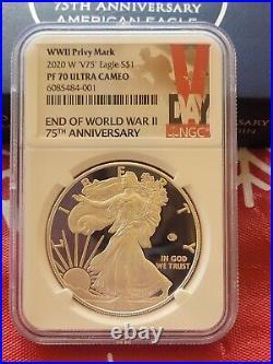 2020 W End World War II 2 75th American Silver Eagle V75 NGC PF70 70 IN HAND