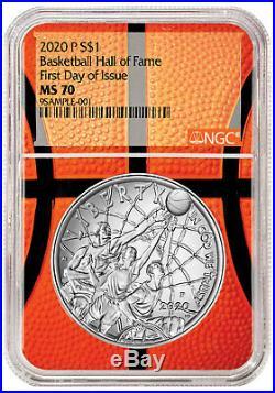 2020P $1 Basketball Hall Fame Silver Dollar NGC MS70 FDI Basketball Core