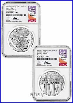 2Pc 2020P Women's Suffrage Silver Dollar &Medal Set NGC PF70 FR Mercanti Signed