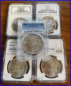BULK Lot (5 Coins) MS64 1879-1904 Morgan Silver Dollar NGC/PCGS Set Collection